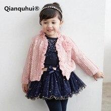 Qianquhui Automne Nouvelle Princesse Bébé Filles Vêtements Outfit Manteau + T-shirt + Jupe Tutu Rose Vêtements 3 PCS Set Costume Bébé vêtements