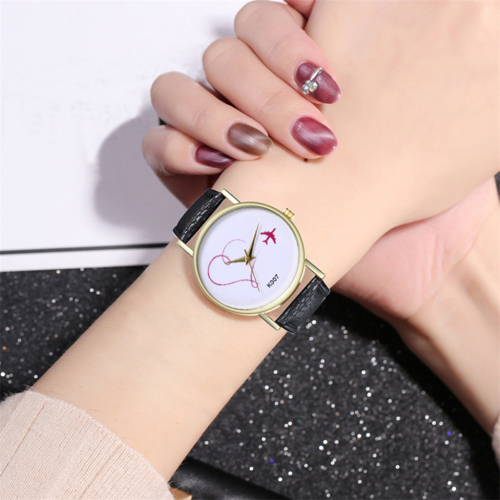 Fashion Leather Strap Quartz Watch Ladies Heart Shape And Airplane Printing Dial Watches Brand Luxury Gift Clock Reloj Mujer #B