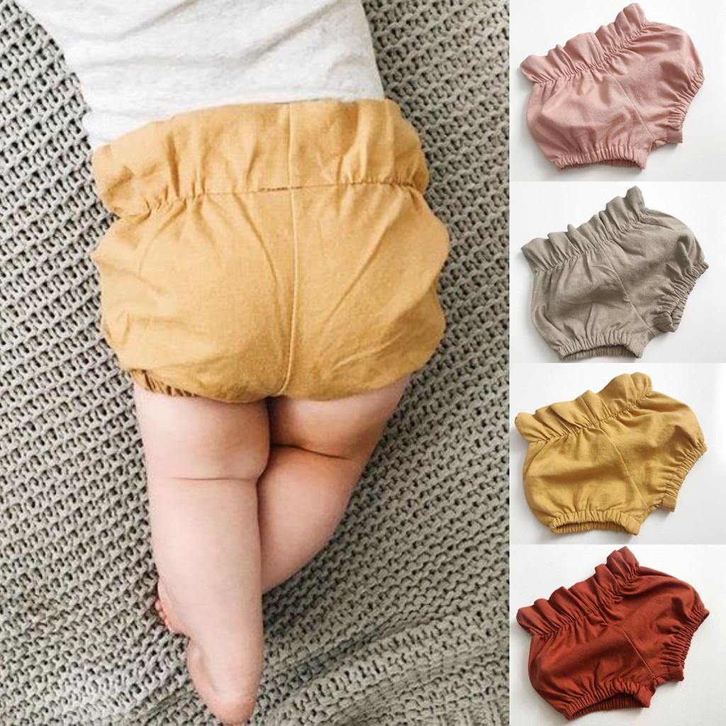 Summer Baby Girls Boys Solid Ruched Pants   Shorts   Briefs Trousers Toddler Fashion