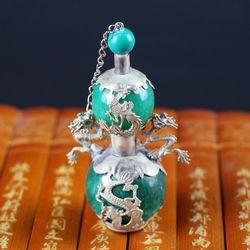 Chiny stary pekin stare towary rzeźby Shuanglong  srebrna powłoka jade butelki tabaki