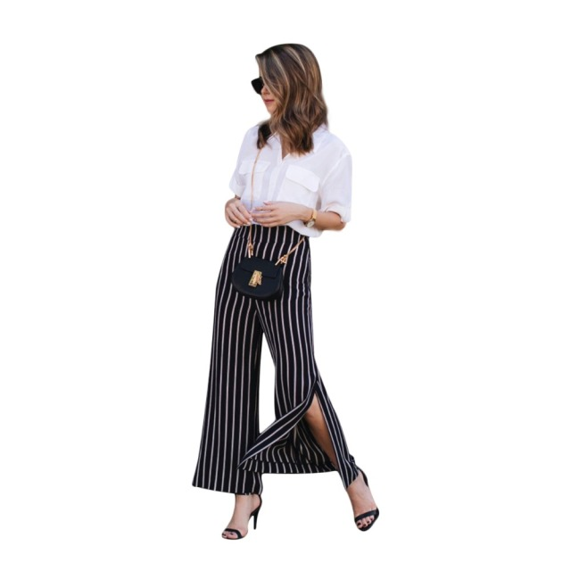 bd48cffc9e7ff1 Black white stripe side slit plus size wide leg pants women ladies high  waisted oversize OL formal plazzo trousers for work