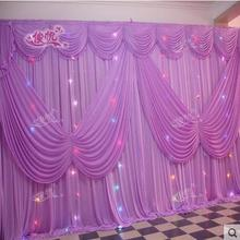 Romantic Wedding Backdrop10ft*20ft ice Silk White Color with Butterfly Swag Wedding Drape Curtain Backdrop