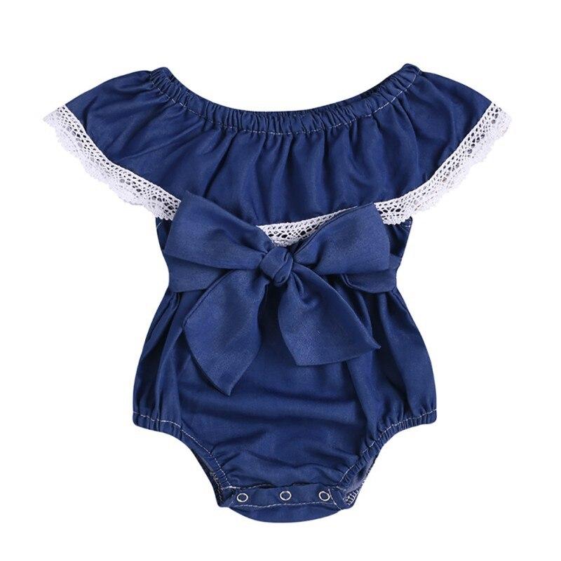 Baby Girls Bodysuit Clothes Denim Princess Solid Bodysuit Sunsuit Clothing Party Baby Clothes Jumpsuit Daddy Gift 0-2Y