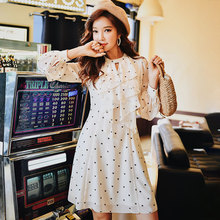 Dabuwawa Spring Dot Ruffles Chiffon Dresses For Girls Lady Women 2019 New A-Line Long Sweet Elegant Boho Midi Dress DN1ADR021