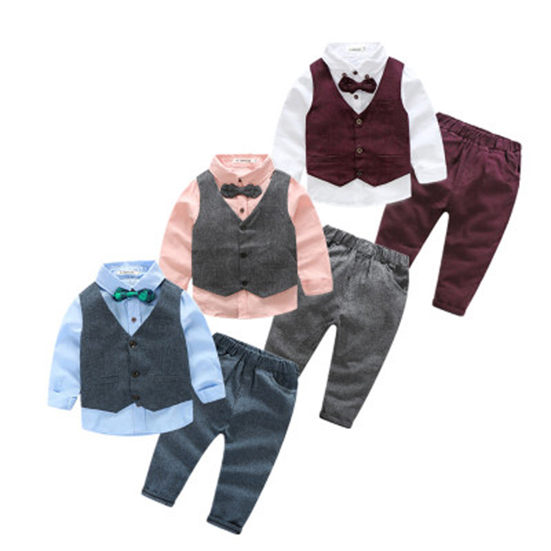 2018 Boy Gentleman Set Vest + T-Shirt + Pants 3pcs Set Fashion 10Y baby Kids Bowknot Bearded Long Sleeve Child's Clothes Suit baby boy clothes suits vest plaid shirt pants 3pcs set party formal gentleman wedding long sleeve kid clothing set free shipping