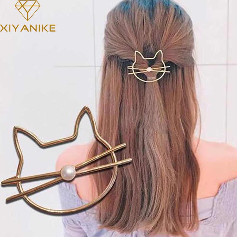 XIYANIKE металла Имитация-жемчужина милые шпильки для волос с украшением в виде кошек для девочек волос зажим, аксессуар для волос полированный животных заколка для волос как подарок H3