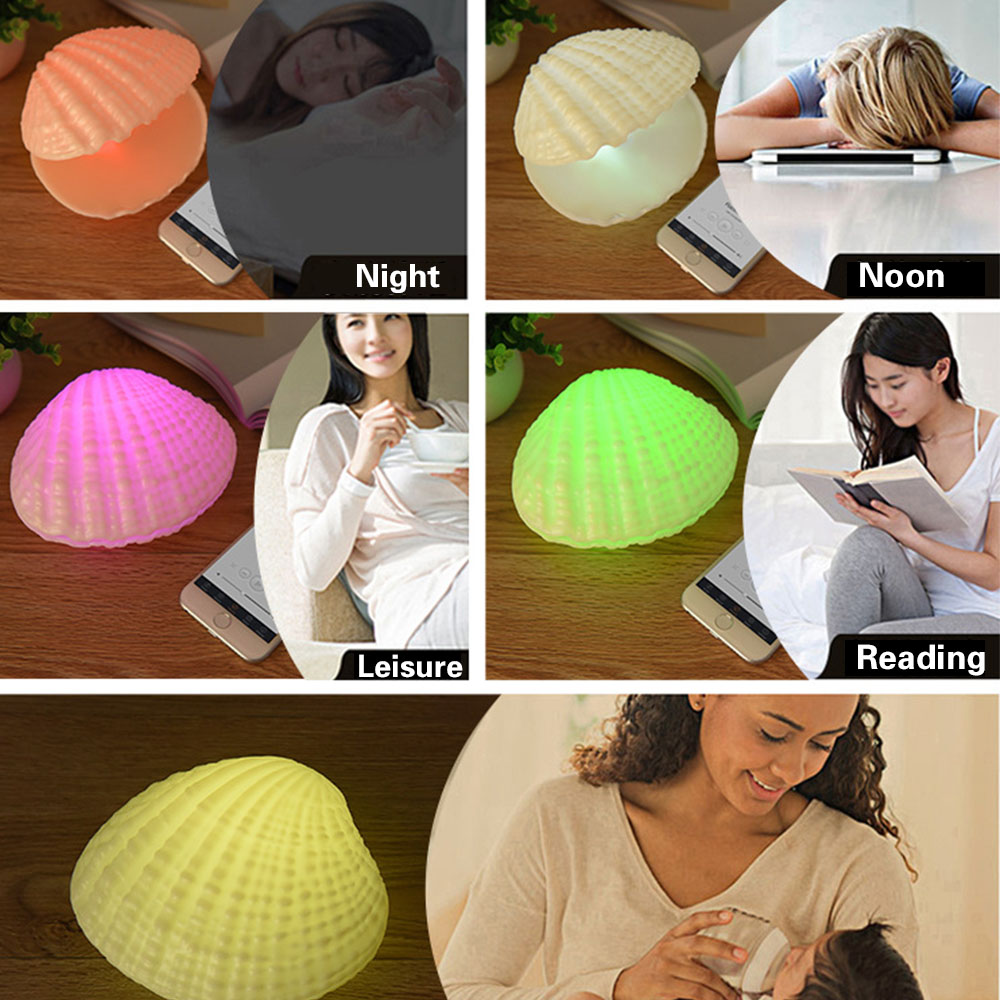 LED Music Night Light 7 Colors Shell Wireless Bluetooth Player Sound Speaker Valentine Day Rechargeable Home Bedroom Lamp