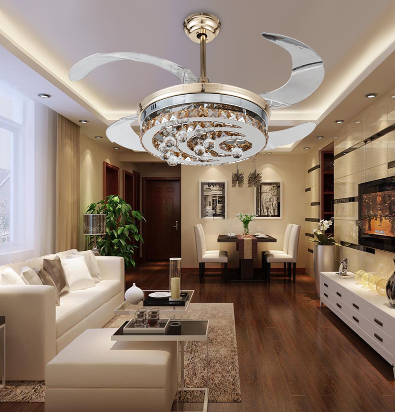 Modern stealth crystal ceiling fan lights led fashion simple bedrooms living room dining room Overhead lighting living room