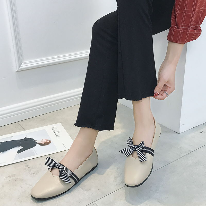 LAISUMK Women Shoes Ballet Flats Bow Square Toe Ballerina Flat Boat Loafers