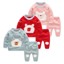 Ins Popular Baby Girls Suit 2018 Autumn Cartoon Pattern Children Set for Tops+Pants 2pcs Knitted Newborn Sets Toddler