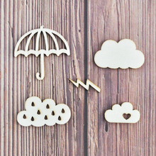 Happymems Wood Shapes Cloud Thunder 120pcs 5 styles mixed Scrapbooking Embellishments DIY Craft Wooden Shape Home Decorations