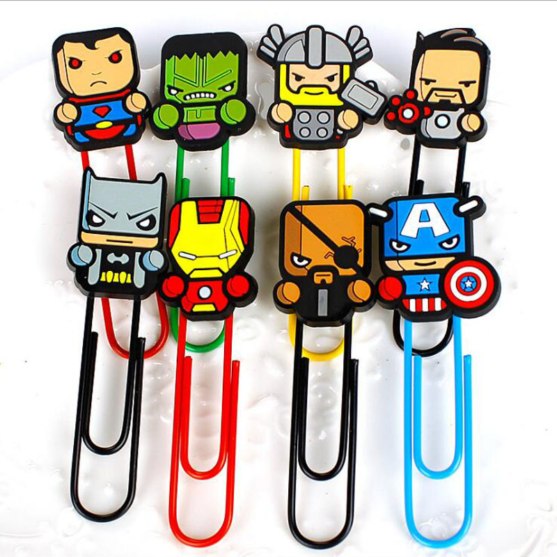 40pcs/lot New Cartoon Hero Bookmarks Kawaii Paper Clip Super Book Holder Stationery Office School Supplies  G020