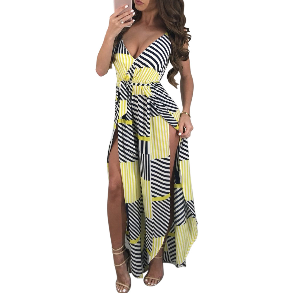 New Women's Jumpsuits Bohemian Full Length Loose Jumpsuit Sexy Striped Print Lace Up V Neck Sleeveless High Slit Jumpsuit Belt