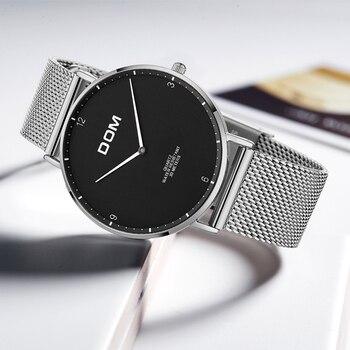 42744bd3ecf8 DOM amantes reloj Top marca de lujo cuarzo cuero ocasional malla Correa  ultra delgado reloj Relog M-36D-1MS