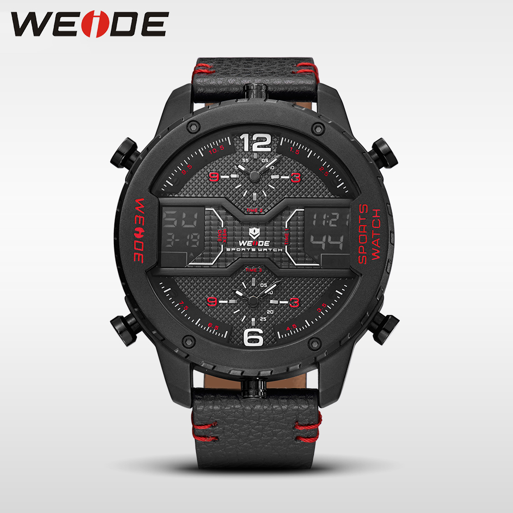 WEIDE genuine Multiple Time Zone Big dial watch quartz men leather sports watches analog relogios waterproof digital alarm clock bewell multifunctional wooden watches men dual time zone digital wristwatch led rectangle dial alarm clock with watch box 021a