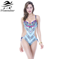 High Quality New Sexy Floral And Leopard Backless Women One Piece Swimwear Underwire Bathing Suit 3