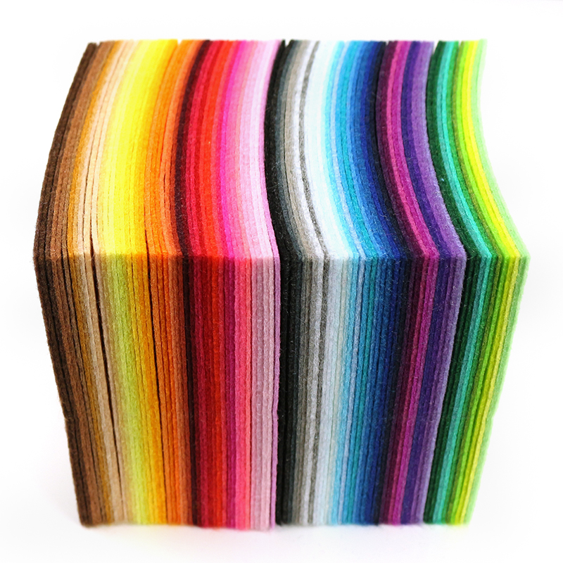 Mix 88 Colors Non Woven Felt Fabric DIY Polyester Cloth Felts With Thread DIY Bundle For Sewing Crafts 1mm Thickness 10*10CM