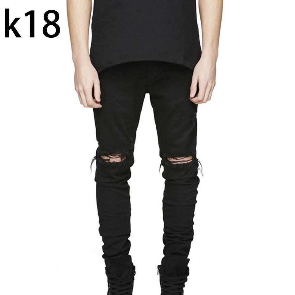 Men Ripped Hole Slim Jeans Man Streetwear Knee Wearing Scratched Jeans Skinny Denim Pants мужская одежда спортивные штаны