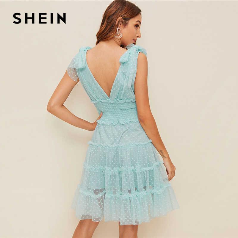 Шеин, кружевное платье с завязками на плечах, женское романтическое платье без рукавов с глубоким v-образным вырезом, миди платье трапециевидной формы, розовое летнее платье
