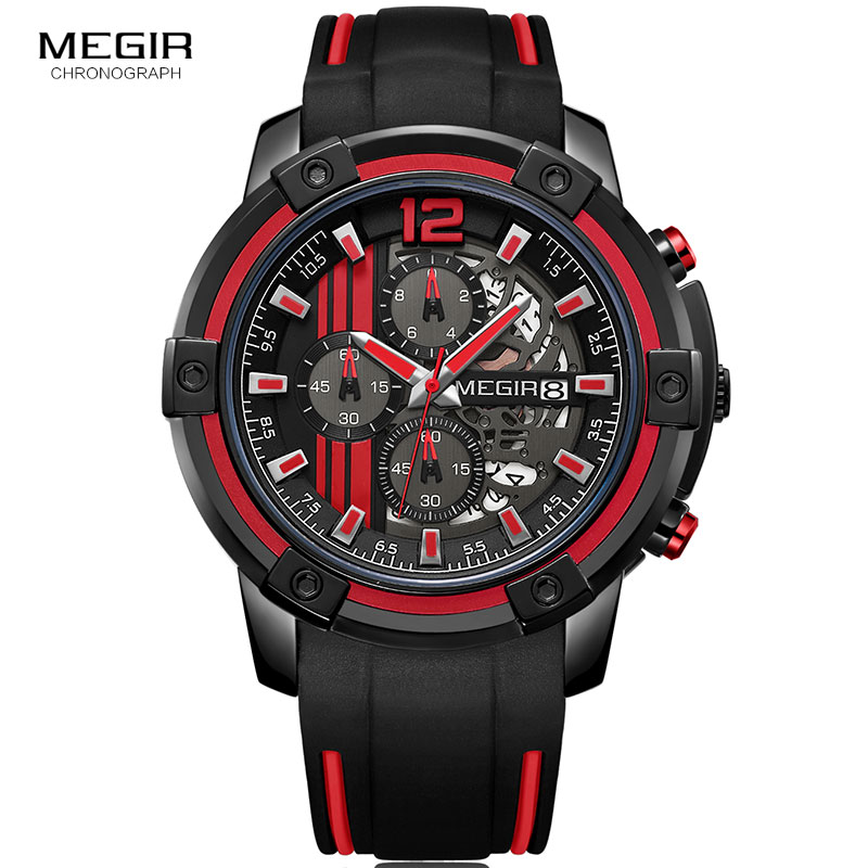 Image 3 - Megir Luxury Quartz Watches Men Silicone Military Sports Chronograph Stopwatch Man Wristwatch Top Brand Relogios 2097 Black Red-in Quartz Watches from Watches
