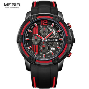 Image 3 - Megir relojes de cuarzo de lujo para hombre, cronógrafo deportivo, militar, de silicona, negro y rojo, 2097