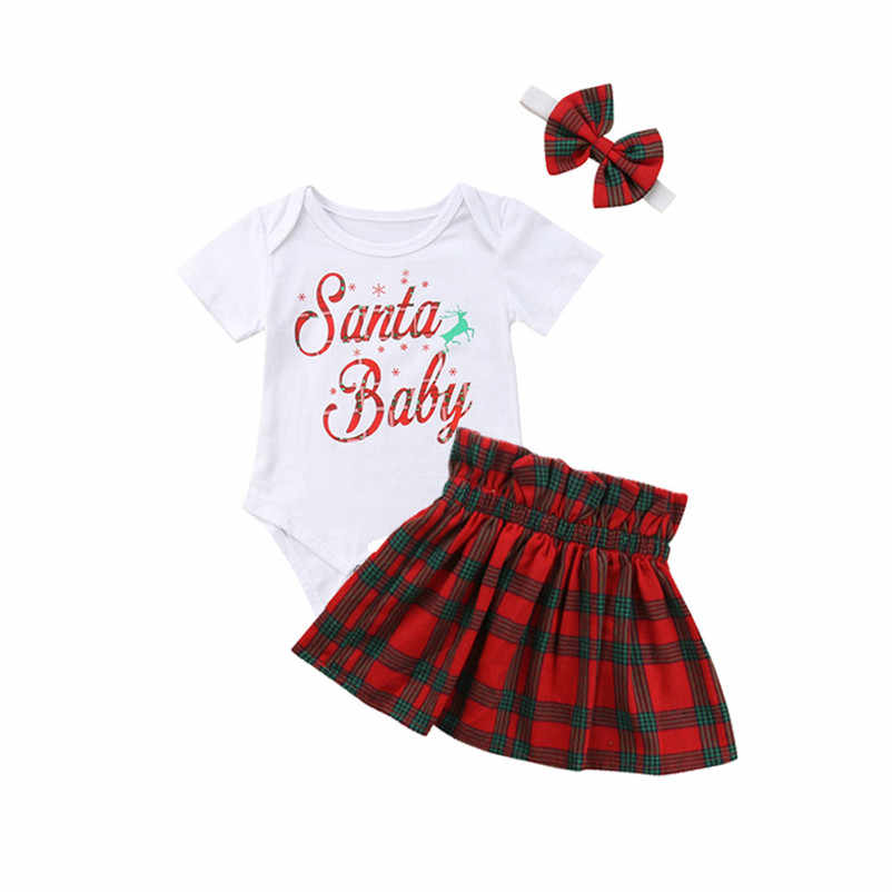 c1f478c52563 Infant Baby Girls Letter Tops Romper+Plaid Skirts Outfits Christmas Clothes  Set white lovely beautiful