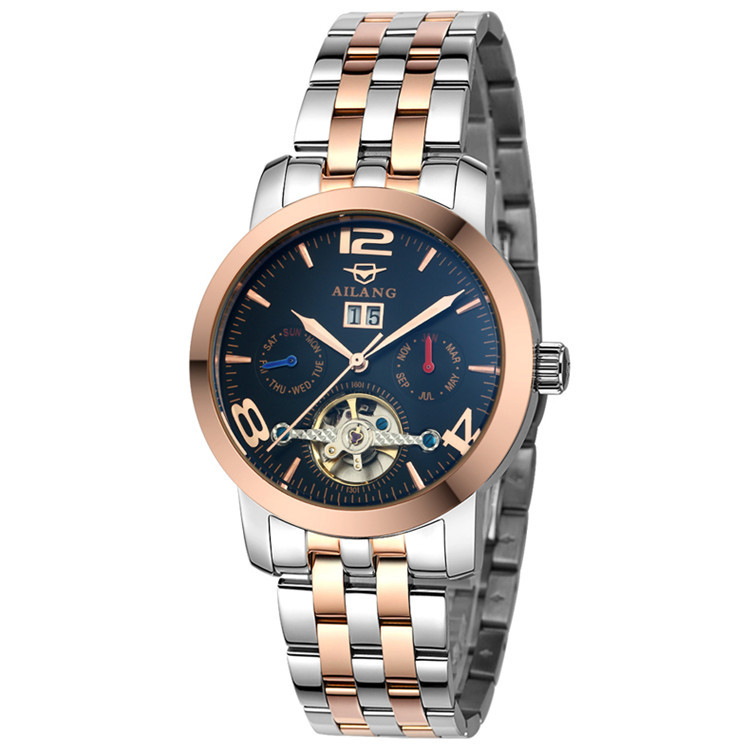 Europe Popular Cool Mens Multi-functional Automatic Tourbillon Watches Self Wind Full Steel Wrist watch Week Calendar Reloj W017 totem element cool guys relief dragon horse watches ailang men crystals tourbillon wrist watch auto self wind leather reloj w024
