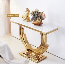 10 stołów 85cm wysokości pozłacany stół konsolowy ze stali nierdzewnej marmurowy blat w kolorze czarnym lub białym tanie tanio Meble do salonu Stół konsoli Meble do domu