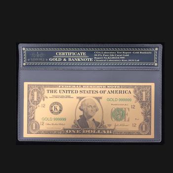 Najlepiej sprzedający się produkt dla ameryki banknoty 1 dolarów banknotów w 24 K złoto papierowe pieniądze z ramką do kolekcji i prezent tanie i dobre opinie Antique sztuczna Patriotyzmu Pozłacane FGHGF 7days after you paid Souvenir collection Gold