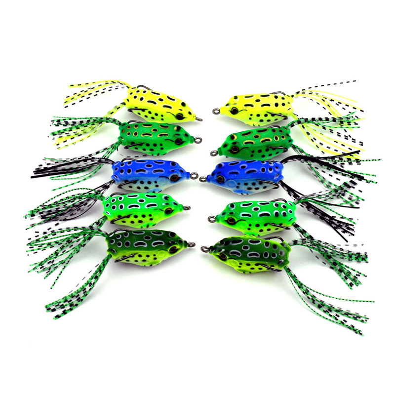 Hot sale 5pcs New Soft Mini Frog Lure Bass Fishing Double Hooks Bait Crankbaits fishing Tackle Topwater Gear Accessories 5.5CM8G