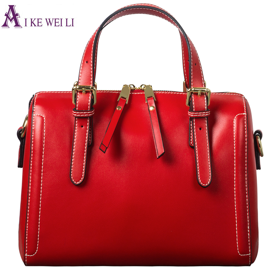 Luxury Genuine Leather Bags Female Boston Famous Brand Women Leather Handbags Messenger Bag red Zipper Ladies Tote Pillow Bag chispaulo women genuine leather handbags cowhide patent famous brands designer handbags high quality tote bag bolsa tassel c165