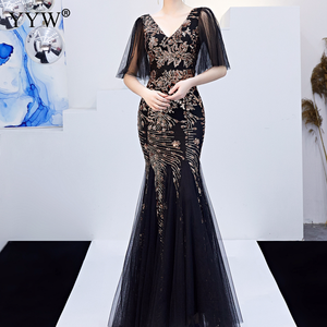 Image 4 - Black Mesh & Gold Floral Sequined V Neck Mermaid Dress Luxury Formal Evening Party Long Dress Batwing Sleeve Sexy Nightclub Wear