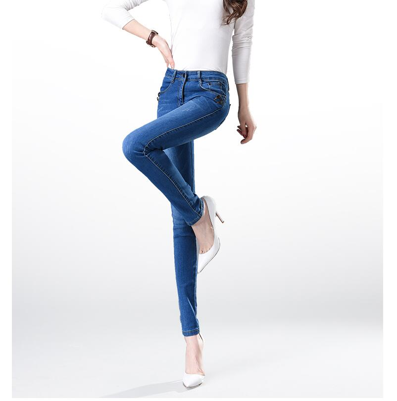 2017 New Fashion Women Elastic Waist High Waist Skinny Stretch Jeans Female Spring Jeans Pencil Pants Plus Size Full Length Sexy spring new women jeans high waist ankle length slim pencil pants fashion female jeans 3 color plus size jeans femme 2017