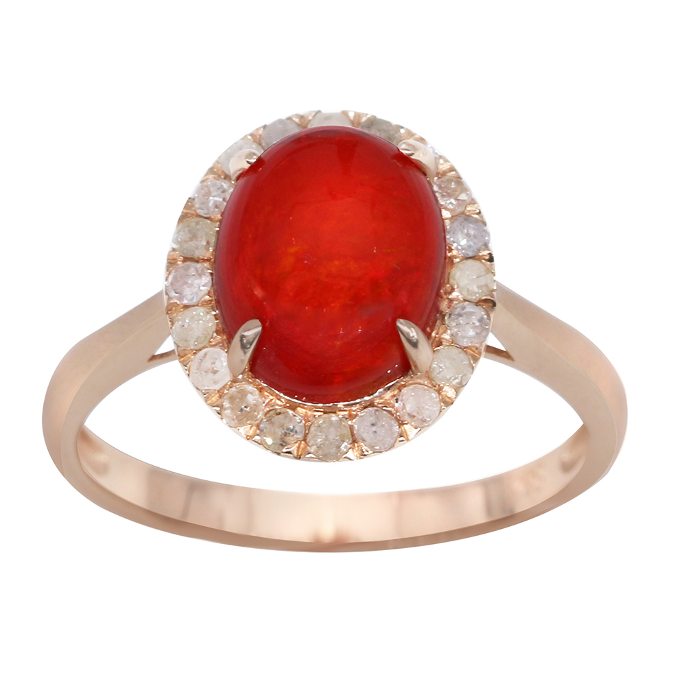 23ct 12*8 Oval Red Natural Opal With 003ct Diamond 14k Yellow Gold