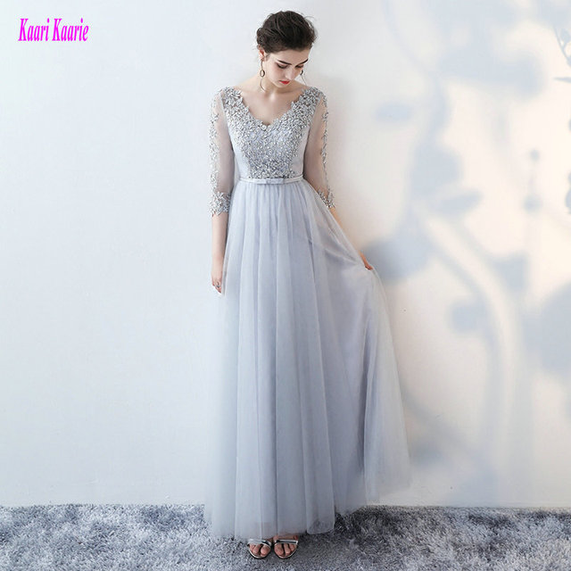 Unique Silver Evening Dresses 2018 New Sexy Evening Gowns Long V-Neck Tulle  Appliques Beading Lace-Up Formal Dress Custom Made b59425c7a681