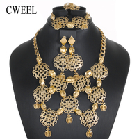CWEEL Jewelry Sets Luxury African Jewelry Set For Women Costume Turkish Ethiopian Bridal Nigerian Beads Wedding