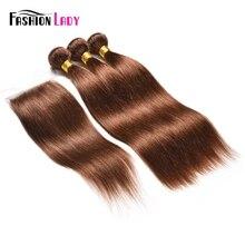 Модные женские предварительно цветные малазийские человеческие волосы переплетения пучки 3 шт. с кружевной застежкой 4# темно-коричневые пучки с закрытием не Реми