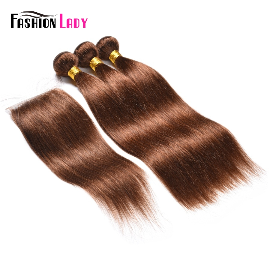 Fashion Lady Pre-Colored Malaysian Human Hair Weave Bundles 3pcs With Lace Closure 4# Dark Brown Bundles With Closure Non-Remy