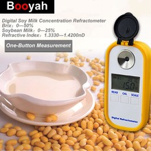 цены Booyah Digital Soy Milk Concentration Meter 0-50% Brix Refractometer 0-25% Bean Juice Test  Liquid Refractive Index Hydrometer