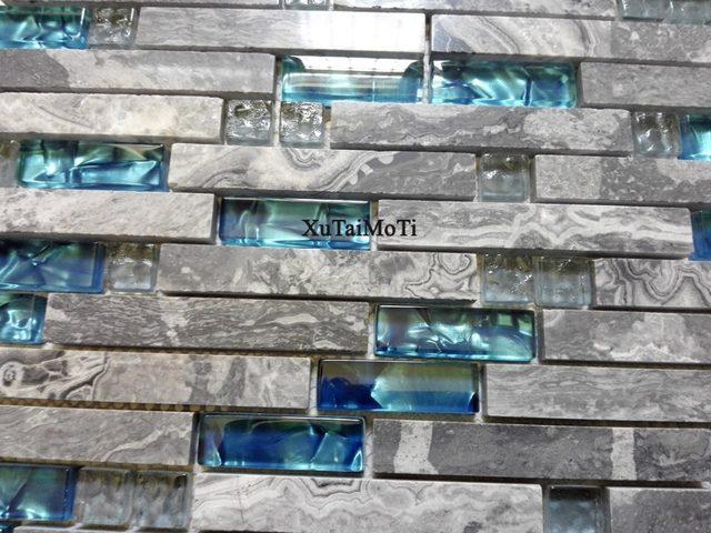 11 Stücke Grau Marmor Mosaik Blau Glasfliese Küche Backsplash Badezimmer  Hintergrund Dekorative Wand Kamin Bar Stein Wandfliesen