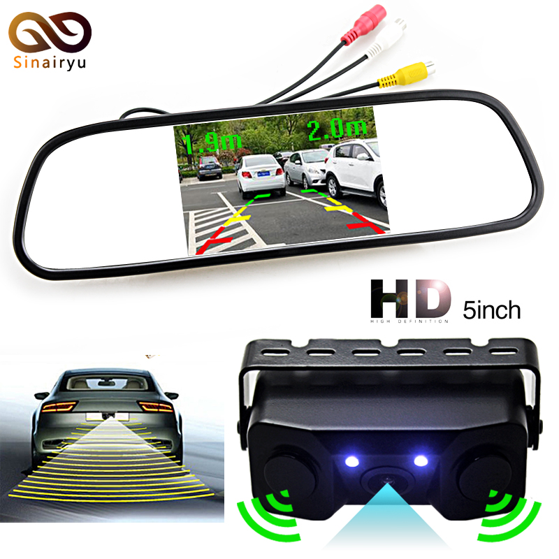 цена Sinairyu HD 5 inch 800x480 TFT Screen Car Rearview Mirror Monitor With Parking Camera + 2 Video Parking Radar Sensors
