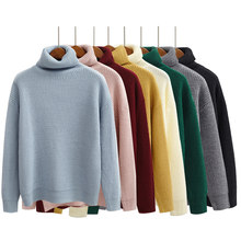 Harajuku Women Solid Color Turtleneck Loose Brief Thermal Thickening Retro Sweater Female Kawaii Knitted Jumper And Pullover(China)