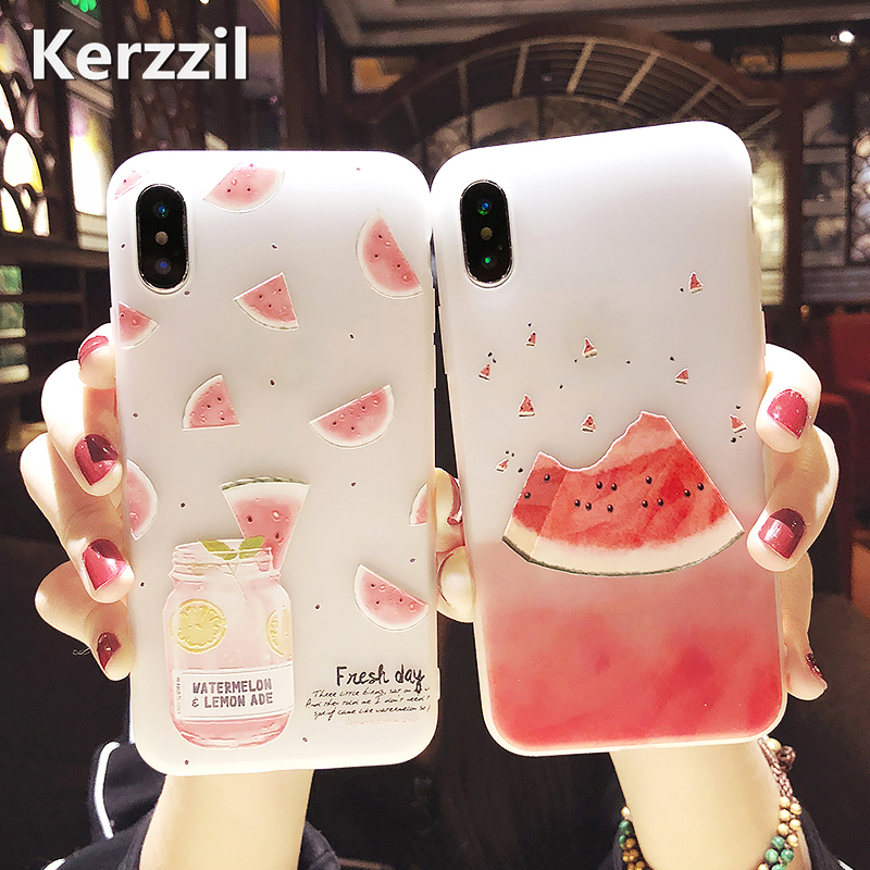 Kerzzil 3D Relief Fruit Watermelon Phone Case For iPhone 7 6 6s 8 Plus Matte Soft Silicone Cover Cases For iPhone X 10 Fundas