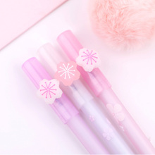 3Pcs Cute Pink Cherry Blossom Erasable Pen Blue Ink Magic Gel Pen 0.5mm for School Office Writing Supply Kids Stationery printio виниловый ландшафт