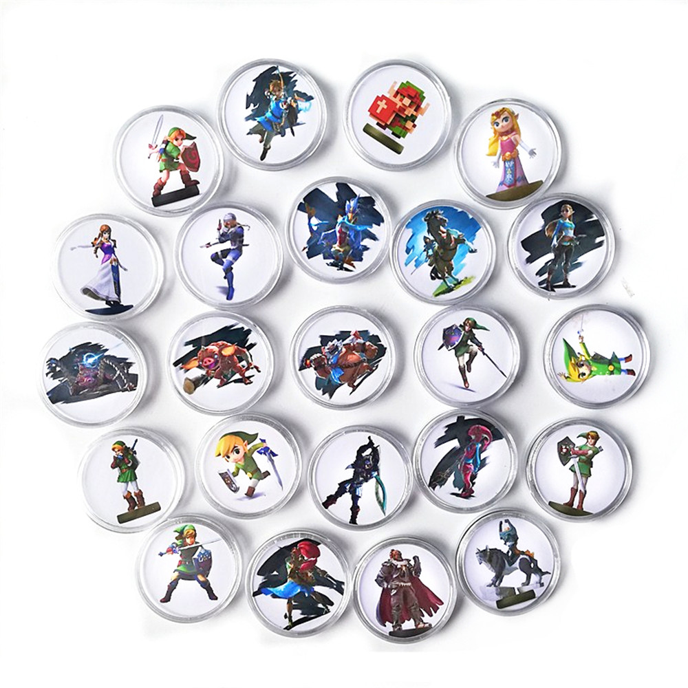 24Pcs/set Data Young Link Set <font><b>Zelda</b></font> Breath for the Wild NFC <font><b>Card</b></font> Of <font><b>Amiibo</b></font> Collection Coin Tag Ntag215 image