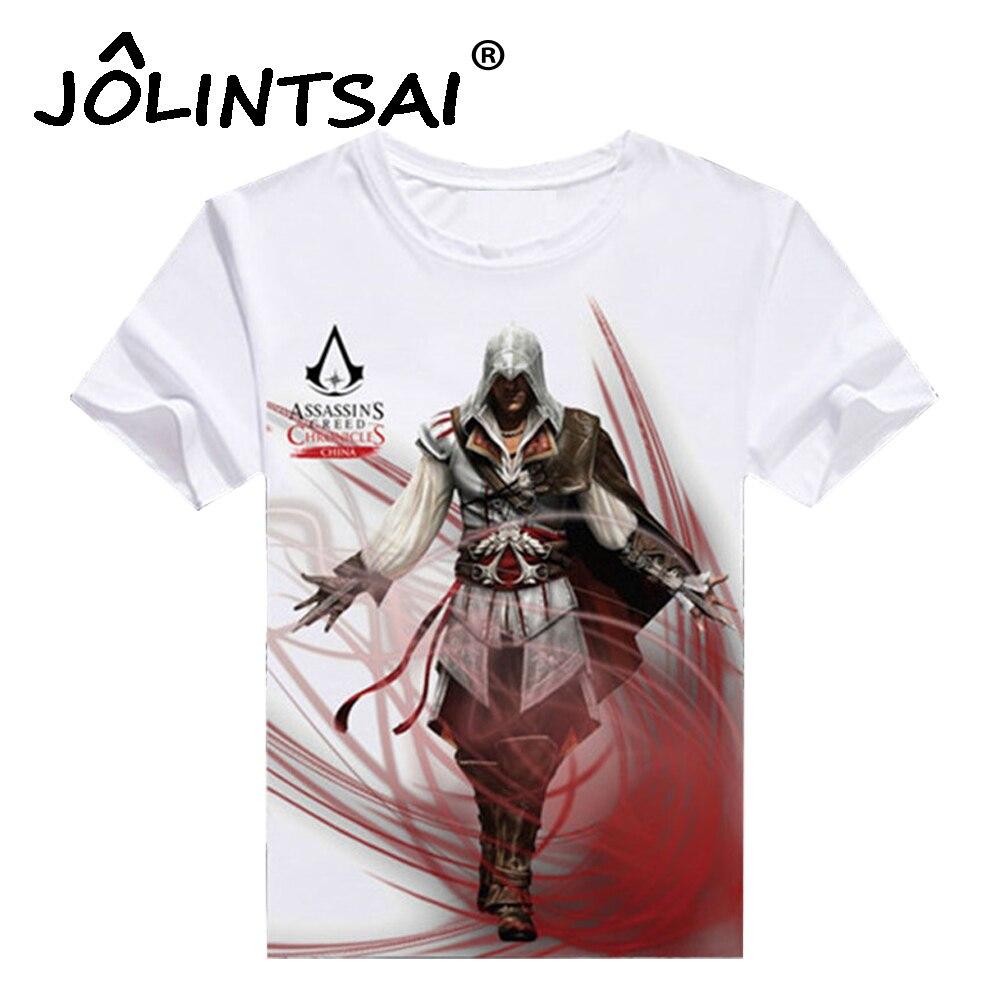 Assassins Creed Men's T-shirt Male Assassin's Short Sleeve Costume 2017 Fashion White Color T shirt Men Hip Hop Black Flag
