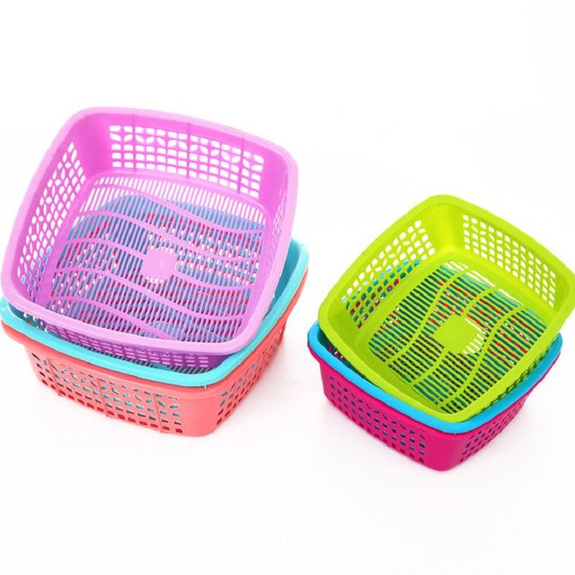 Desktop Organizer Square Plastic Storage Basket Fruit Vegetables Cosmetic  Seasoning Sundries Container For Kitchen Bathroom