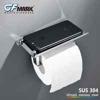 Concise Bathroom toilet paper holder with Shelf Wall Mounted stainless steel creative Hardware WC Roll Holder With Phone Shelf