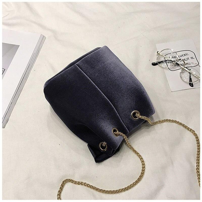 Для женщин Курьерские сумки ведро велюр Сумки женские с бантом из ленты Crossbody сумки для Для женщин цепи Винтаж корейский стиль плеча ба