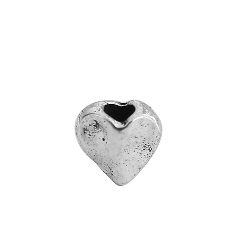 DoreenBeads Zinc Based Alloy Antique Silver Spacer Beads Heart DIY Jewelry Components 6mm x 5mm, Hole: Approx 1.8mm, 300 PCs